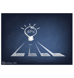 Light bulb with 4ps marketing mix model vector