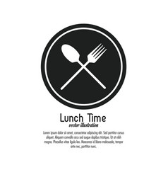 lunch time design menu icon flat vector image