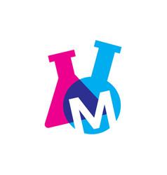 M letter lab laboratory glassware beaker logo icon vector