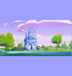 magic castle on green meadow with trees and river vector image
