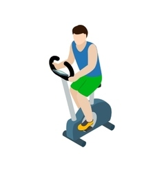 Man training on exercise bike icon isometric 3d vector image