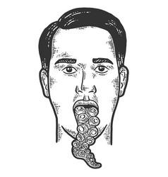Man with octopus tentacle tongue sketch scratch vector