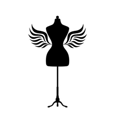 Mannequin silhouette with wings vector