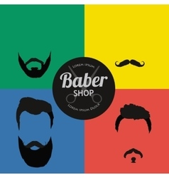 mans hair set beards and mustaches vector image