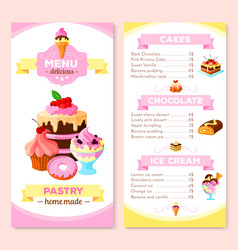 Menu template for homemade pastry cakes vector