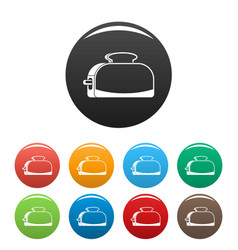 metal toaster icons set color vector image