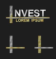 Metallic business font design - letter I vector
