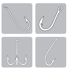 monochrome icon set with fishing hooks vector image