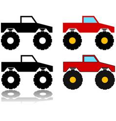 Monster truck icon set vector