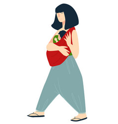 Mother carrying newborn kid wrapped in blanket vector