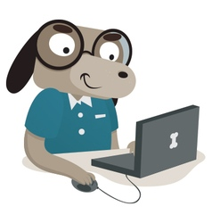 Nerd Dog Using a Computer vector image