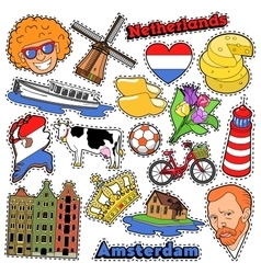 Netherlands Travel Stickers Patches Badges vector
