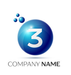 Number three splash logo blue dots and bubbles vector