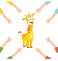 of cartoon hands with giraffe vector image