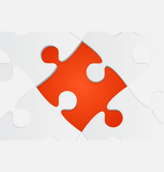 One orange background puzzle piece jigsaw puzzle vector
