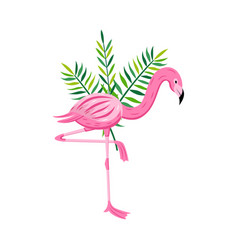 pink flamingo with tropical leaves flat cartoon vector image