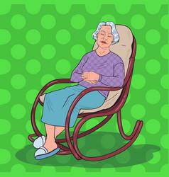 pop art senior woman sleeping in chair grandmother vector image