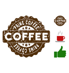 Prime coffee reward stamp with dirty texture vector