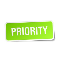 Priority green square sticker on white background vector