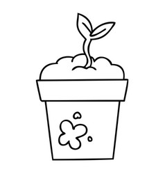 Quirky line drawing cartoon seedling vector