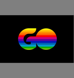 rainbow color colored colorful alphabet letter go vector image