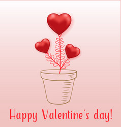 red hearts houseplant in flower pot vector image