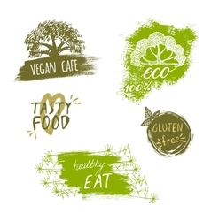 Retro style set of bio organic gluten free eco vector