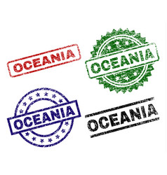 Scratched textured oceania seal stamps vector