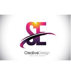 Se s e purple letter logo with swoosh design vector