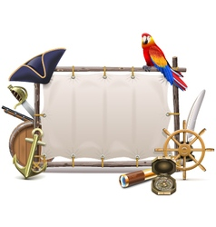 Seafaring Frame with Sail vector