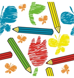 Seamless background pencils and draw vector image