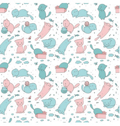 Seamless pattern with cute kittens vector