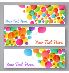 set colorful balloons banners vector image