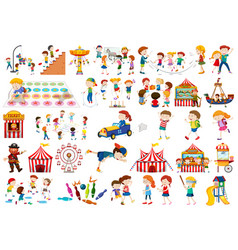 set kids playing vector image