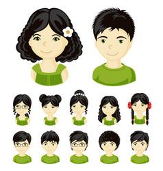set of children faces vector image