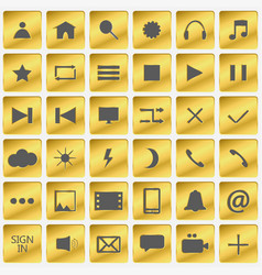 Set of gold icons golden buttons in the squares vector