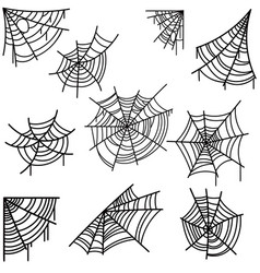 Set of halloween spider web on light background vector