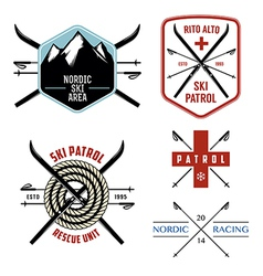 Set of nordic skiing labels and emblems vector
