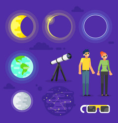 Set of solar eclipse elements vector