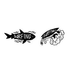 set surfing logo design surf club monochrome vector image