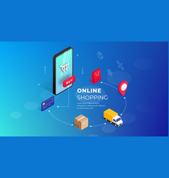 shopping online isometric concept vector image