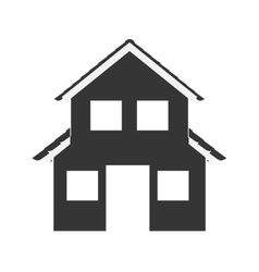 silhouette with monochrome house of two floors vector image