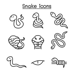 Snake icon set in thin line style vector