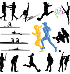 Sport players from diferent sports silhouette vector