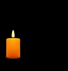 Stock yellow candle on black background vector