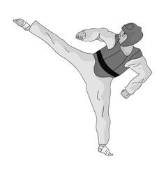 Taekwondo fighter in white kimono and red vector