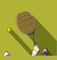 tennis feet and hand with racket top view vector image
