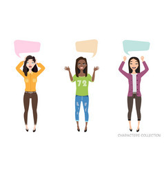 three modern multiracial women communicate dialog vector image