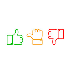 Thumbs up set green like red dislike and yellow vector