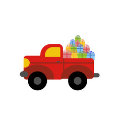Truck with presents vector